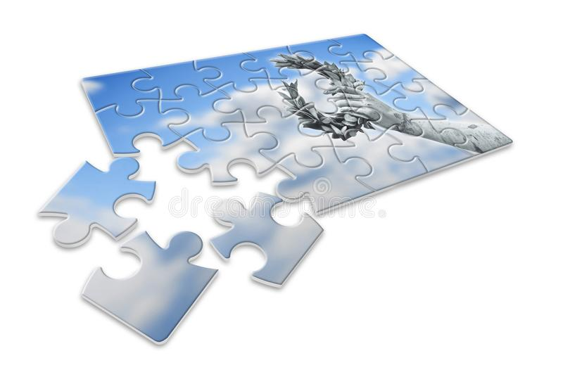 De langzame bouw van succes en bekendheid - Lauwerkranshand h stock illustratie