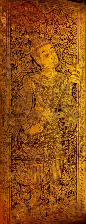 De Lanna geschilderde deur royalty-vrije stock afbeelding