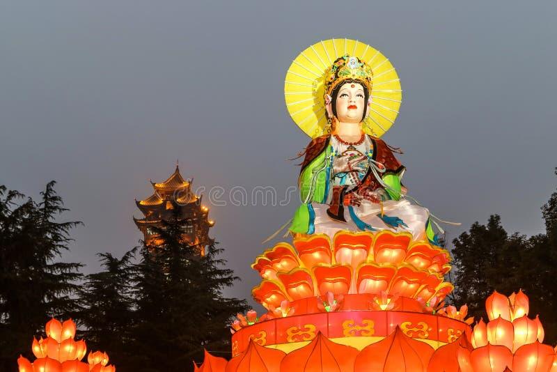 De lantaarn toont in chengdu, China royalty-vrije stock afbeeldingen