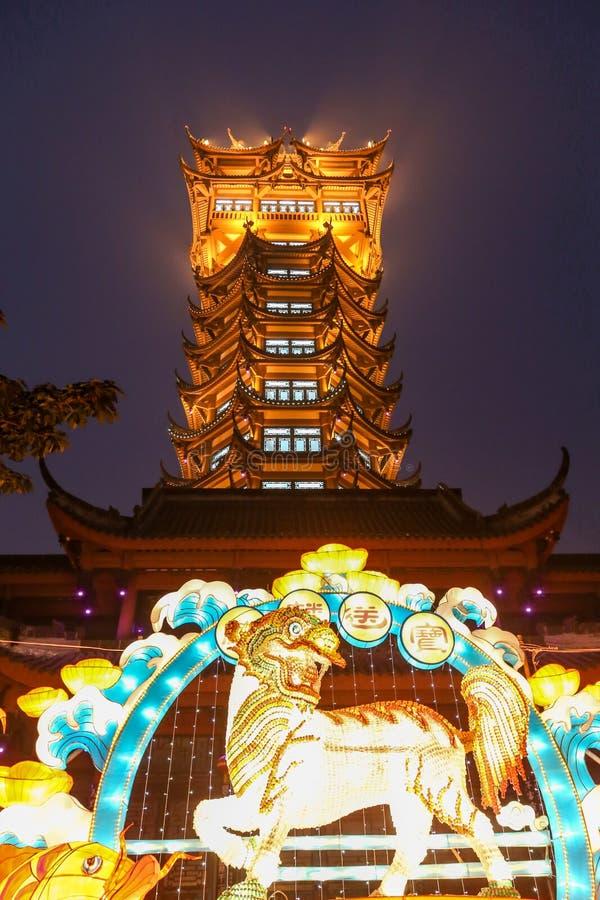 De lantaarn toont in chengdu, China stock afbeelding