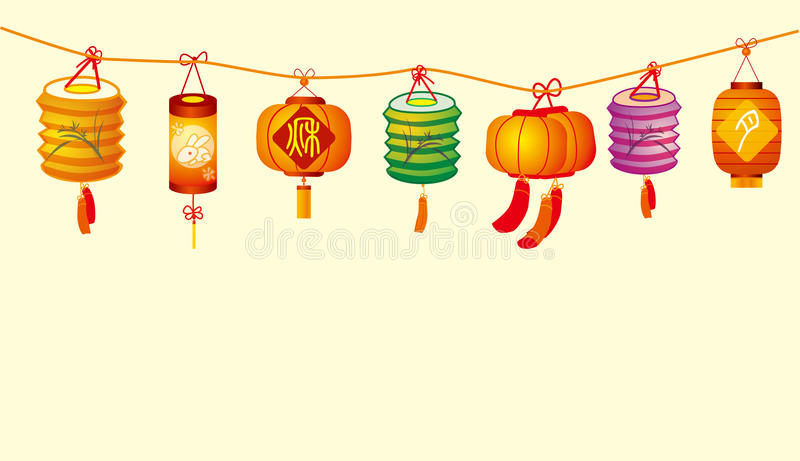 De lantaarn van de medio-herfst royalty-vrije illustratie