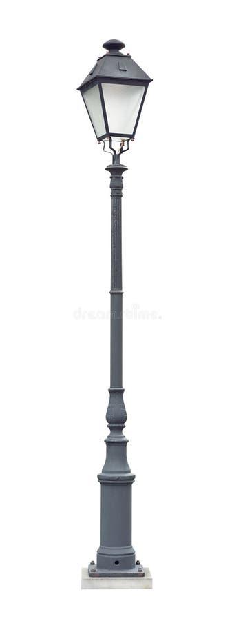 De lantaarnpaal van de straat met één lamp grijs knipsel royalty-vrije stock afbeelding
