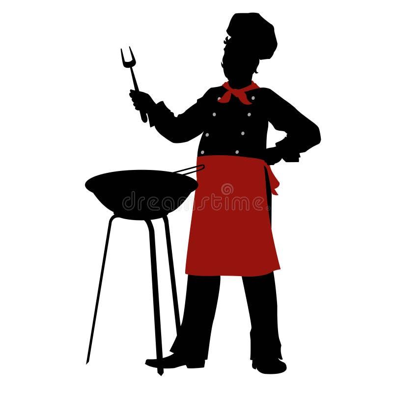 De lapjes vlees van de de koksbarbecue van de silhouetchef-kok vector illustratie