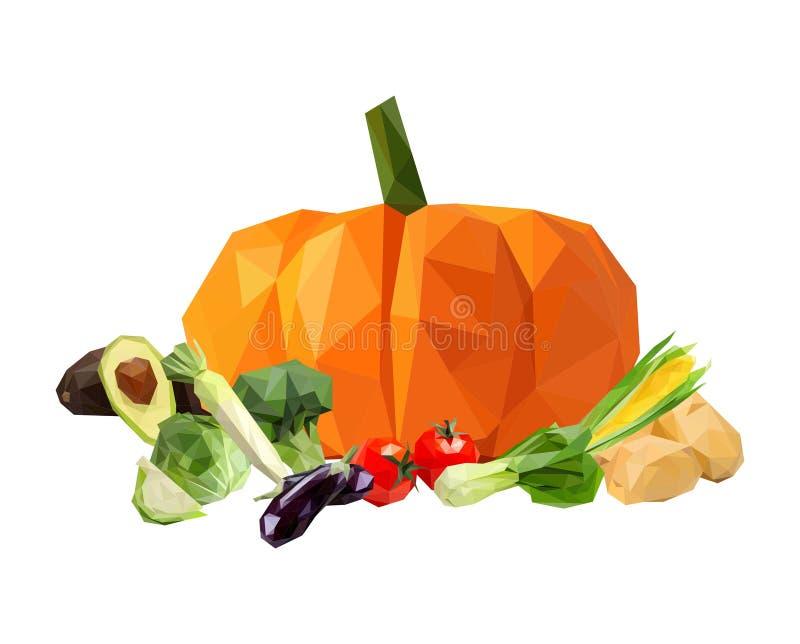 de las frutas y verduras arte lowpoly stock de ilustración