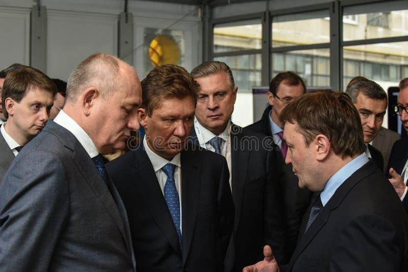 ` de las máquinas del poder del ` de PJSC Presidente del consejo de administración de PJSC Gazprom A molinero foto de archivo libre de regalías