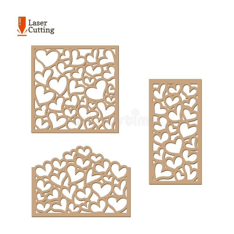 De laser sneed geplaatste panelen De vectormalplaatjes van het inzamelingenkader met harten voor besnoeiing op lasermachine Het o vector illustratie