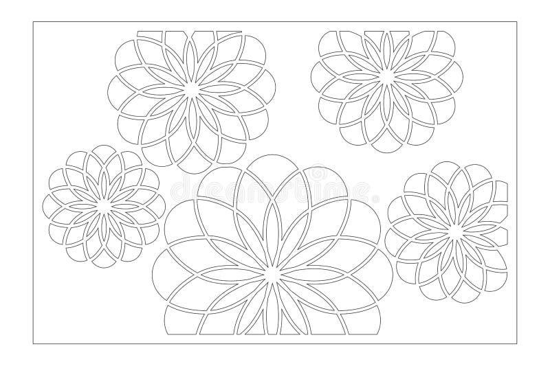 De laser sneed paneel Decoratieve kaart voor knipsel De kunstpatroon van bloemmandala arabic Verhouding 2:3 Vector illustratie royalty-vrije stock foto's