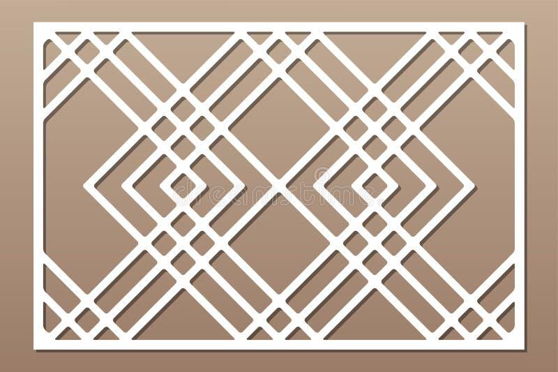 De laser sneed paneel Decoratieve kaart voor knipsel Lijn, vierkant kunstpatroon Verhouding 2:3 Vector illustratie stock afbeeldingen