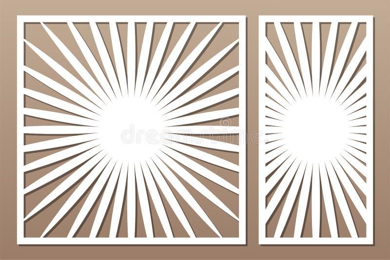 De laser sneed paneel Vastgestelde decoratieve kaart voor knipsel De kunstpatroon van de meetkundelijn Verhouding 1:2, 1:1 Vector stock fotografie