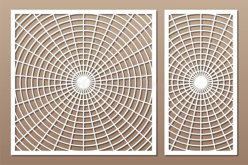 De laser sneed paneel Vastgestelde decoratieve kaart voor knipsel De kunstpatroon van de meetkundelijn Verhouding 1:2, 1:1 Vector stock afbeeldingen