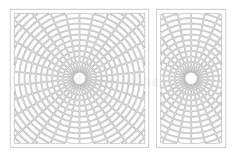 De laser sneed paneel Vastgestelde decoratieve kaart voor knipsel De kunstpatroon van de meetkundelijn Verhouding 1:2, 1:1 Vector stock foto