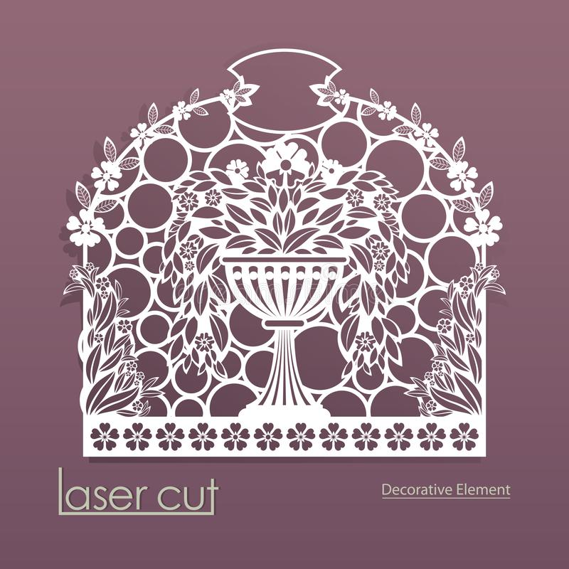 De laser sneed patroon Envelopontwerp voor uitnodigingskaarten Bloempot met bloemen Vectorsilhouet van gevoelige vouwen van stock illustratie
