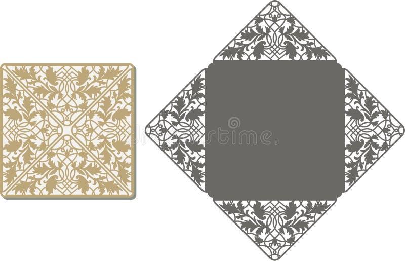 De laser sneed patroon voor uitnodigingskaart voor huwelijk royalty-vrije illustratie