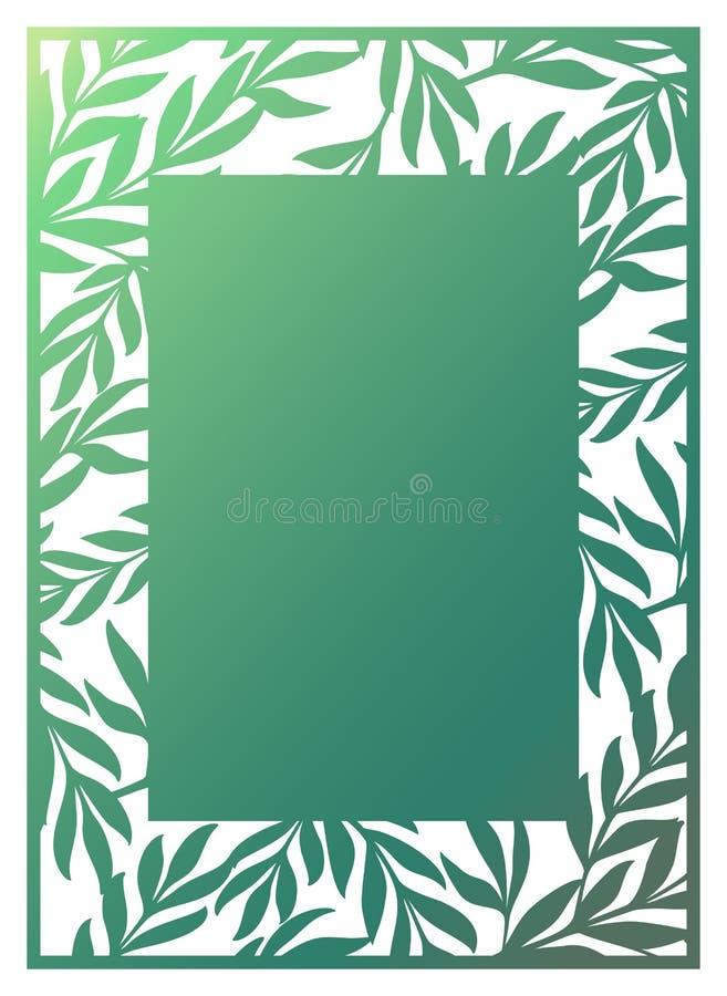 De in Laser sneed sier vectormalplaatje met openwork grens royalty-vrije illustratie