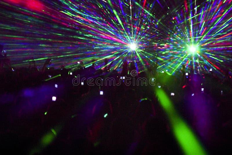 De laser toont in club stock afbeelding