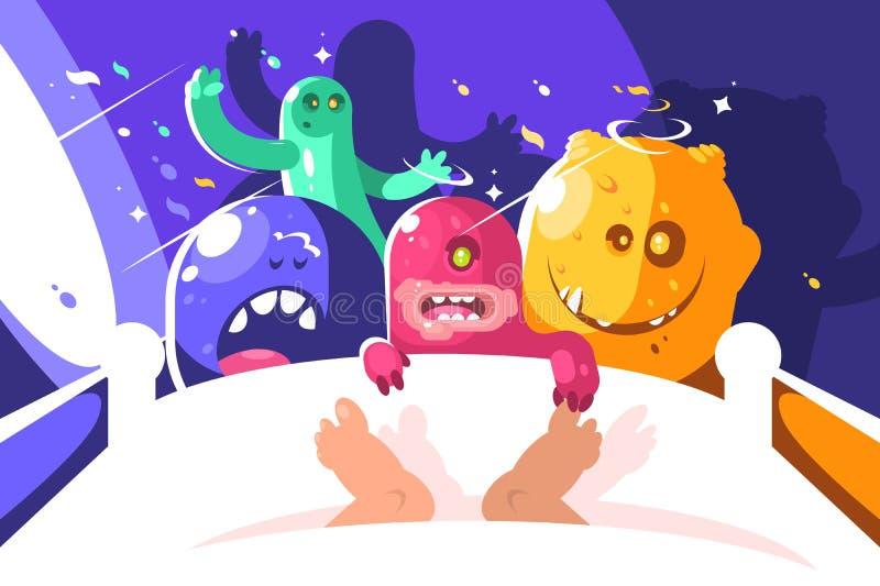 De lastslaap van nacht leuke monsters in bed stock illustratie