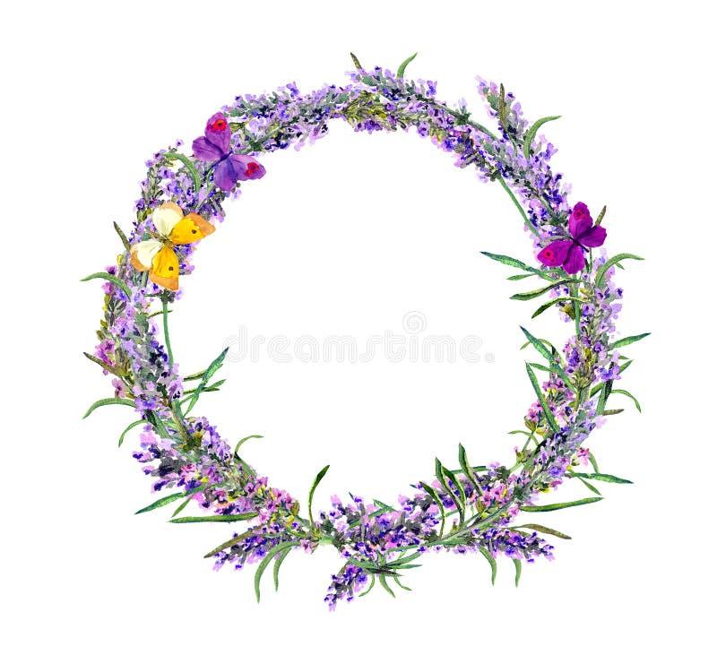 De lavendel bloeit kroon, vlinders watercolor stock afbeeldingen