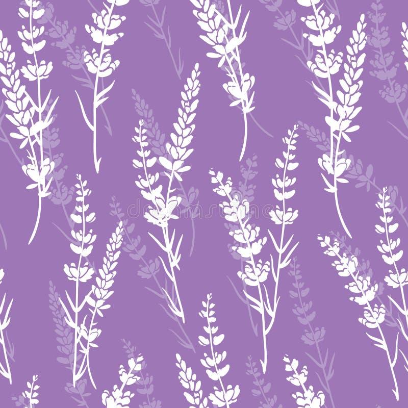De lavendel bloeit purper vector naadloos patroon stock illustratie