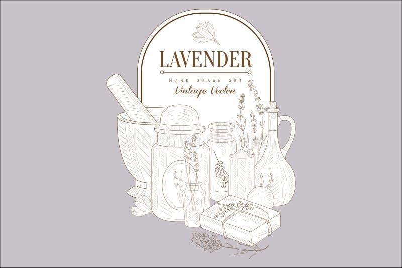 De lavendelbloemen, kruiden geplaatste schoonheidsmiddelen, creatieve uitstekende affiche handsketched vectorillustratie royalty-vrije illustratie