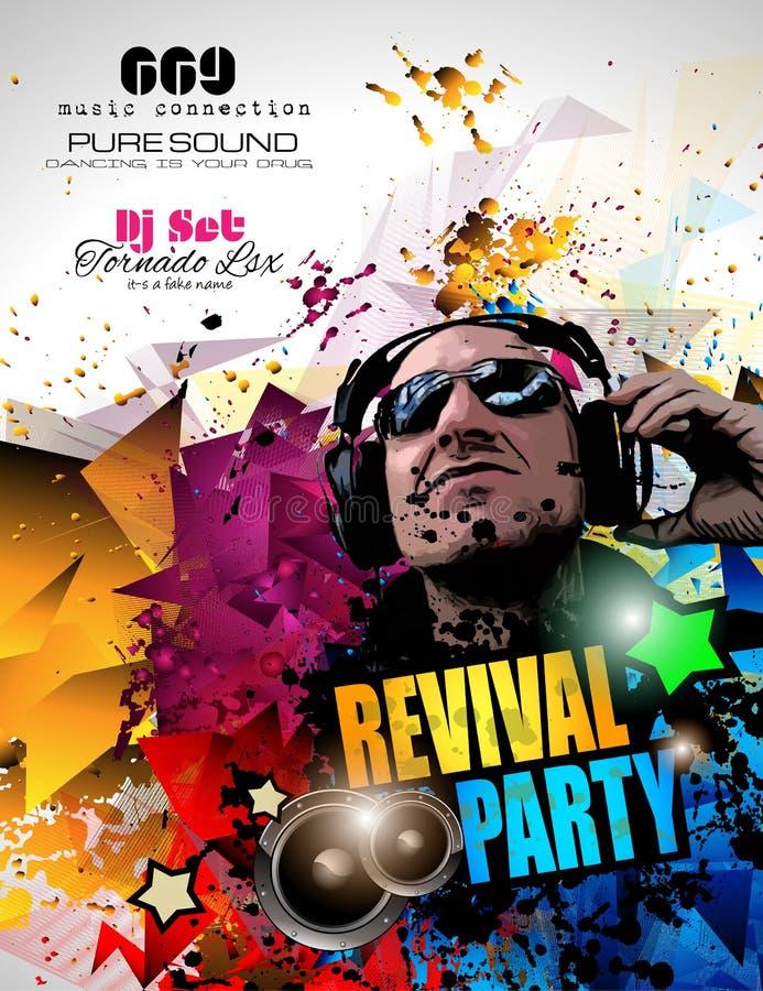 De lay-out van de de Clubvlieger van de disconacht met de vorm en de muziekelementen van DJ royalty-vrije illustratie