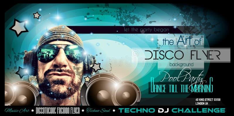 De lay-out van de de Clubvlieger van de disconacht met de vorm van DJ stock illustratie