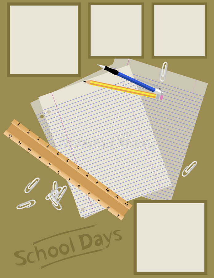 De Lay-out van de Pagina van het plakboek - School royalty-vrije stock afbeelding