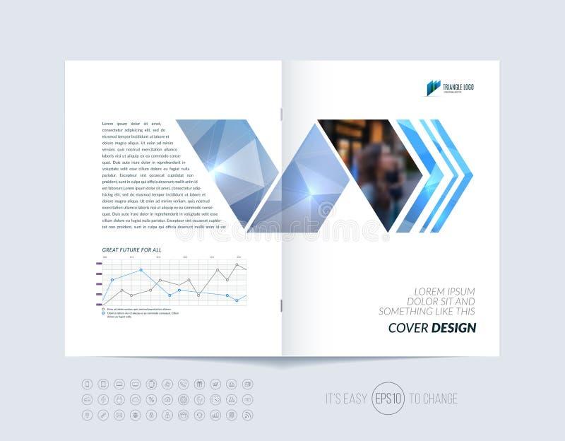 De lay-out van het brochuremalplaatje, het jaarverslag van het dekkingsontwerp, tijdschrift, stock illustratie