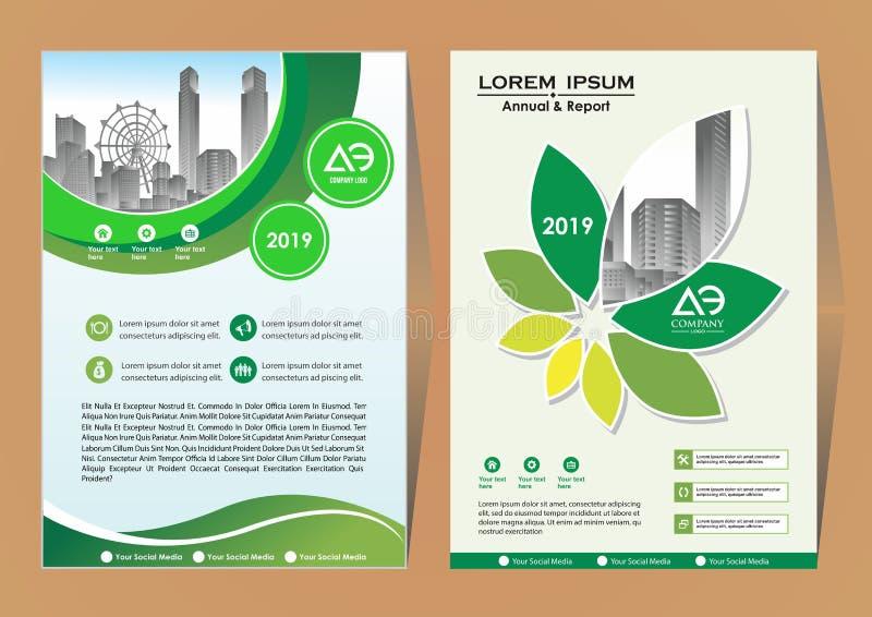 De lay-out van het brochuremalplaatje, het jaarverslag van het dekkingsontwerp, tijdschrift, vlieger of boekje in A4 met blauwe g vector illustratie