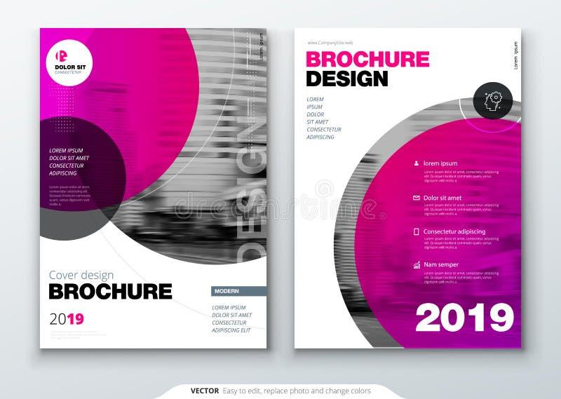 De lay-out van het brochuremalplaatje, het jaarverslag van het dekkingsontwerp, het tijdschrift, de vlieger of het boekje in A4 m vector illustratie