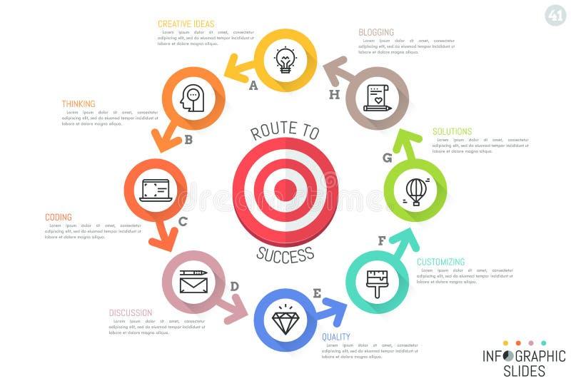 De lay-out van het Infographicontwerp Ringvormig diagram met 8 heldere gekleurde cirkeldieelementen rond het schieten van doel wo royalty-vrije illustratie