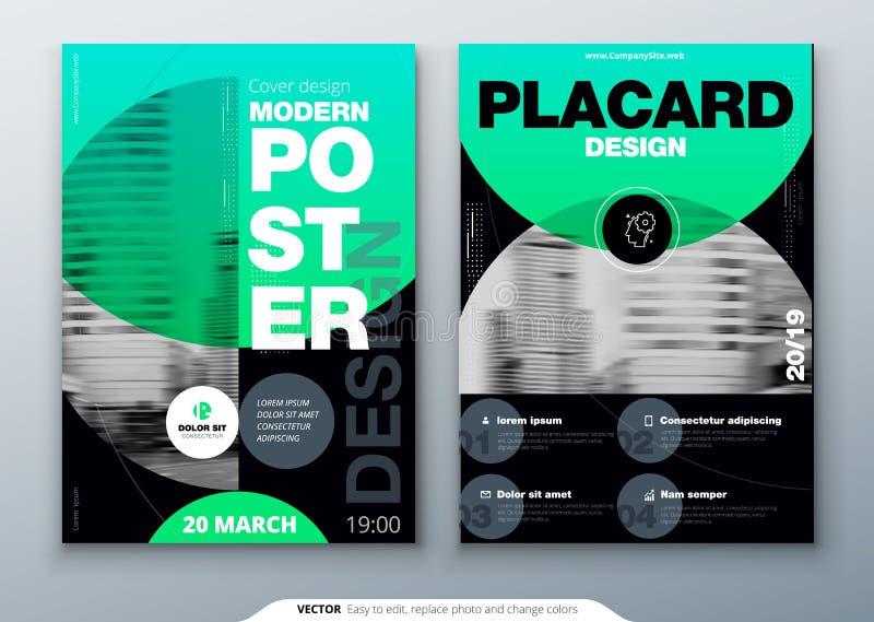 De lay-outontwerp van het affichemalplaatje Bedrijfsaffiche, aanplakbiljet achtergrondmodel in heldere kleuren Vectorillustratie  vector illustratie