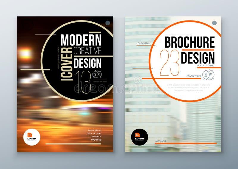 De lay-outontwerp van het brochuremalplaatje Collectief bedrijfs jaarverslag, catalogus, tijdschrift, vliegermodel Creatieve mode royalty-vrije illustratie