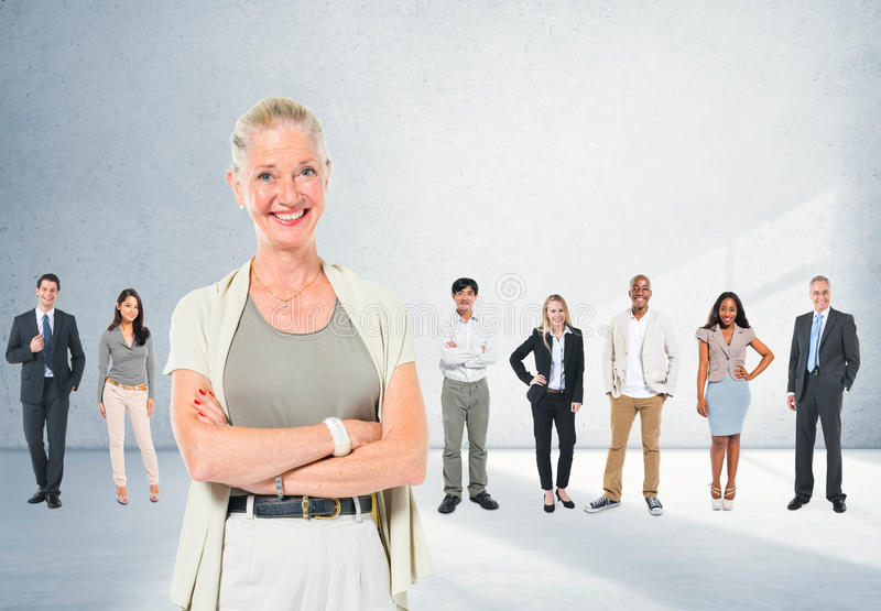 De Leardershipmededeling werkt Team Concept samen stock afbeeldingen