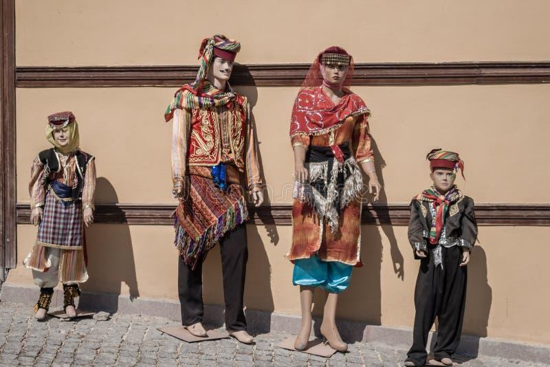 De ledenpoppen kleedden zich in Kleurrijke Oosterse Traditionele Turkse Klonter royalty-vrije stock fotografie