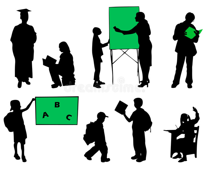 De leerlingensilhouetten van de school stock illustratie
