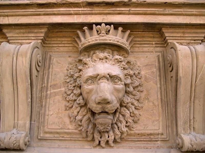 De Leeuw van de steen, Boboli Tuinen, Florence stock fotografie