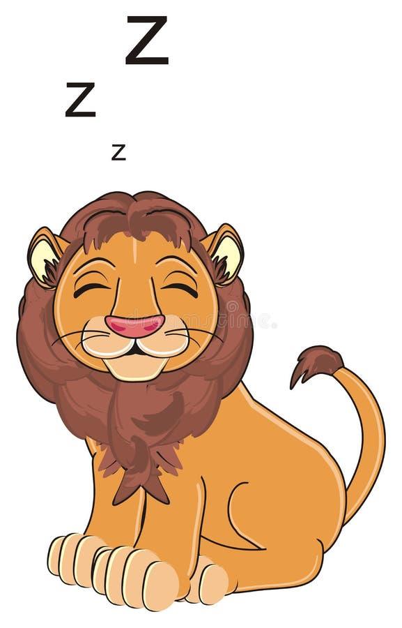 De leeuw zit en slaap vector illustratie
