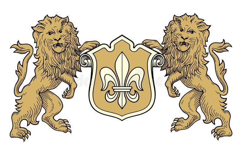 De leeuwenvector van het wapenschild stock illustratie