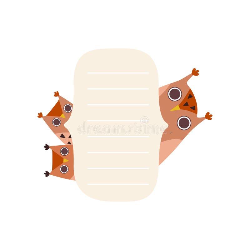 De Lege Banner van de jonge uilenholding, Leuk Beeldverhaal Owl Birds met de Lege Vectorillustratie van de Tekenraad stock illustratie