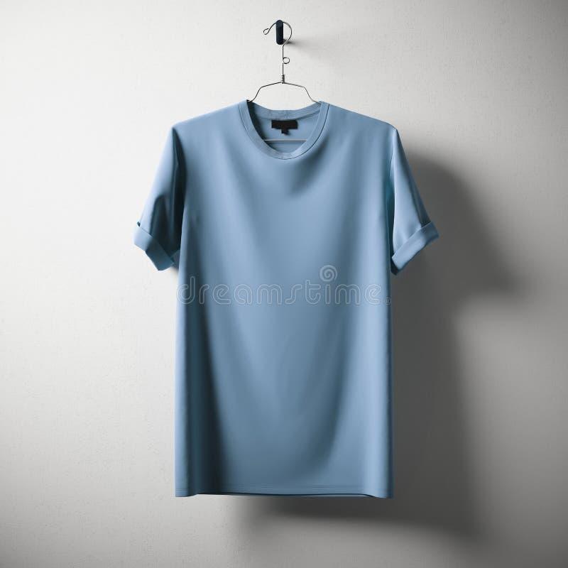 De lege Blauwe van het Katoenen Concrete Witte Lege Achtergrond T-shirt Hangende Centrum Het model detailleerde hoogst Textuurmat royalty-vrije stock foto's
