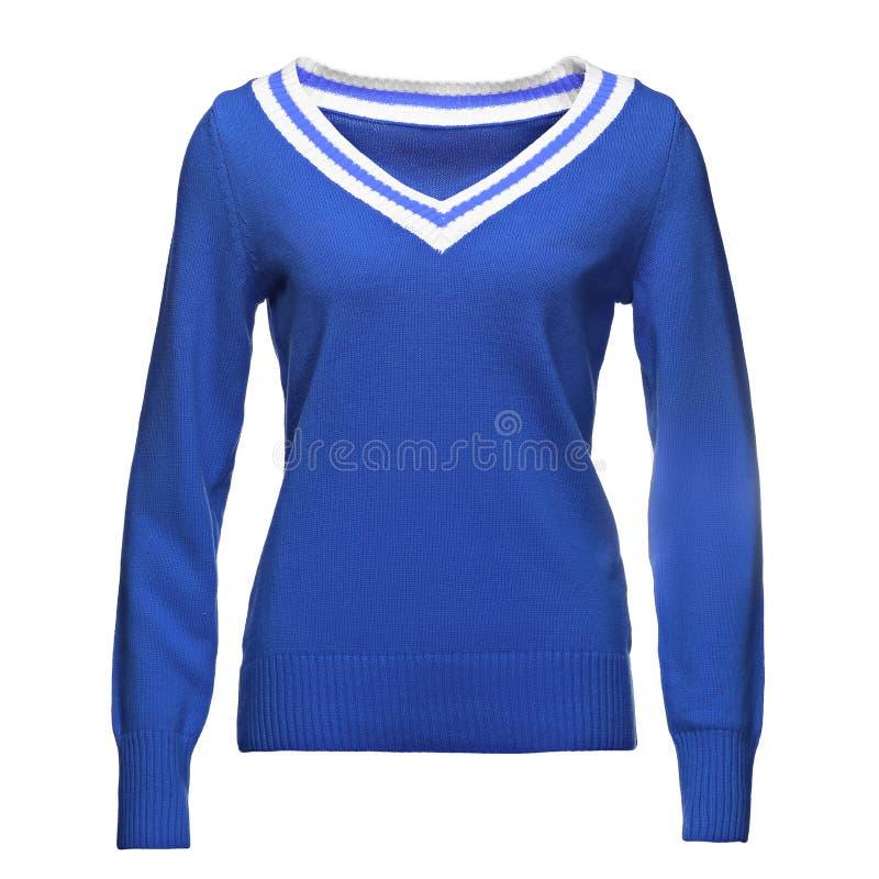 De lege blauwe vrouwelijke sweater met het knippen van weg, voor uw ontwerpmodel en malplaatje voor druk, isoleerde witte achterg stock foto
