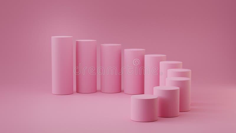 De lege cilinder van pastelkleur roze stappen op achtergrond het 3d teruggeven vector illustratie