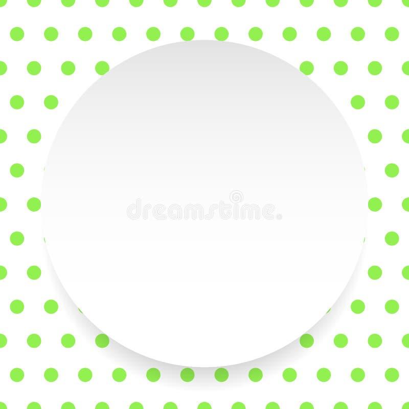 De lege cirkel, blad, schijf over polkadotpatroon/Achtergrond is royalty-vrije illustratie