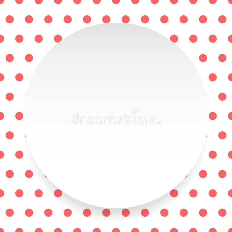 De lege cirkel, blad, schijf over polkadotpatroon/Achtergrond is vector illustratie