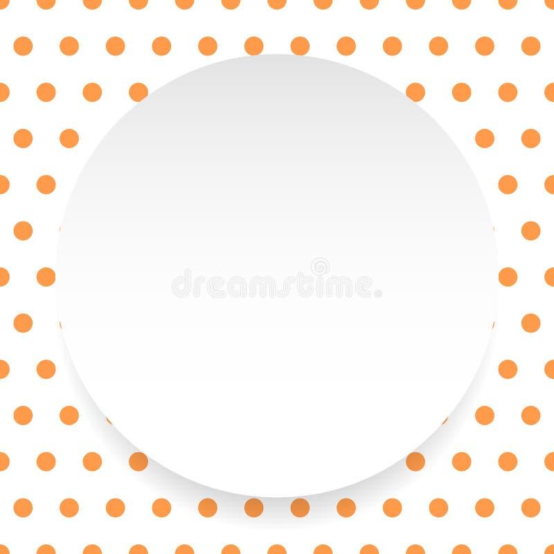 De lege cirkel, blad, schijf over polkadotpatroon/Achtergrond is stock illustratie