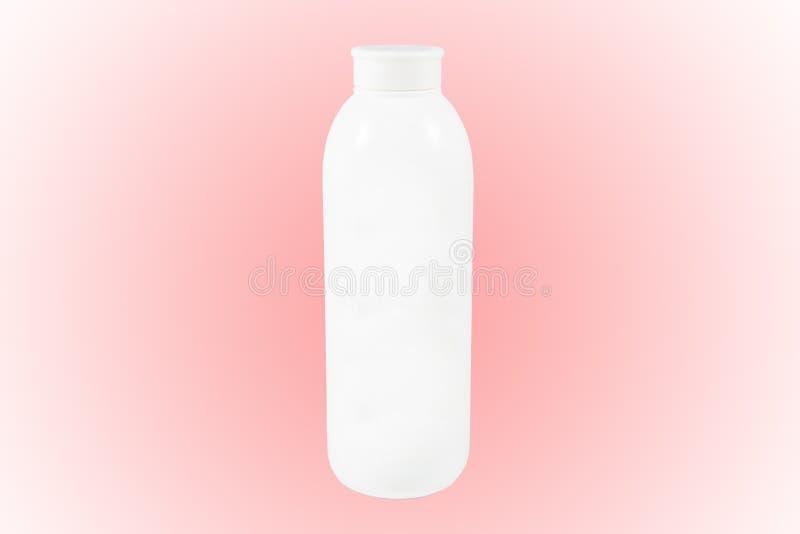 De lege container van het babytalkpoeder op witte achtergrond met klem stock afbeelding