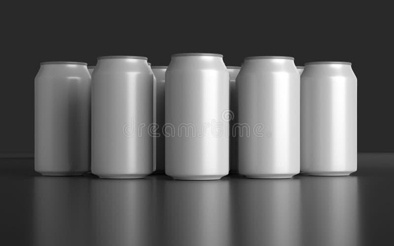 De lege 3d teruggegeven containers van de aluminiumsoda vector illustratie