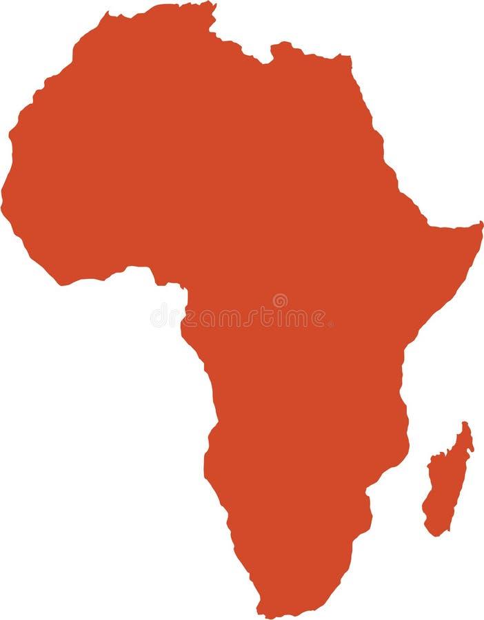 De lege die kaart van Afrika op witte achtergrond wordt geïsoleerd stock illustratie