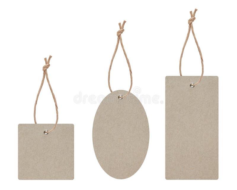 De lege die markering wordt gebonden voor hangt op product voor toont prijs of de korting isoleert op witte achtergrond met het k stock fotografie