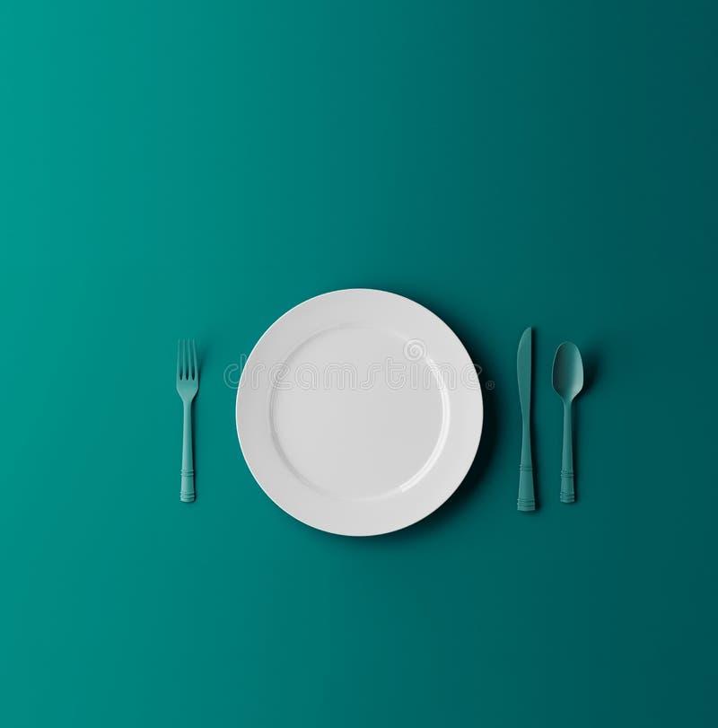 De lege die plaat, vork en het mes op blauw wordt de geïsoleerd dreen achtergrond 3D Illustratie royalty-vrije illustratie